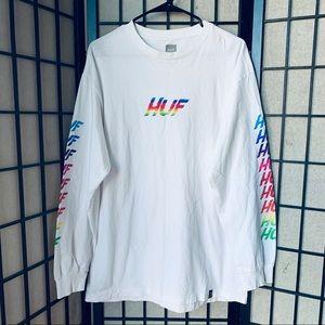 Huf Rainbow Shocker long sleeve white shirt L
